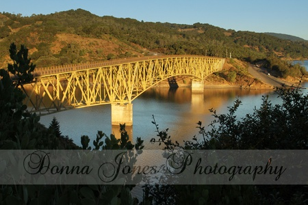 I chose to drive straight to lake Sonoma to catch the early morning light. Just before the bridge there's a turn out where you can walk up a few steps to an outlook complete with a picnic tabl